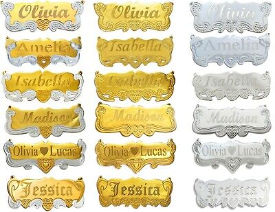 Personalized Silver  and  Gold  Any Name Plate Necklace Script Double Free Chain