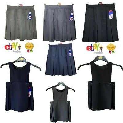 Girls Bib Pinafore Pleated Dress School Uniform Kids All Size Ages 2-20 Black Gr