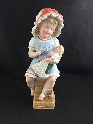 """🔷 Antique Piano Baby German Heubach Bisque GIRL ON CHAIR w/ DOLL 14"""" Figurine"""