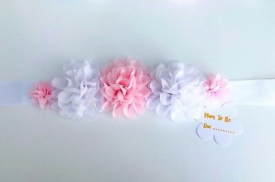 Floral Baby Shower Bump Sash Mum to Be, White and Pink or choose Colours