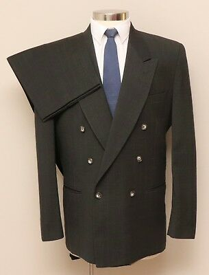 Mens 42L Bachrach 2 Piece Charcoal/Brown Glen Check Wool Double Breasted Suit