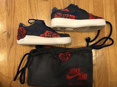 NIKE WOMENS AIR Force 1 Upstep LX Floral Denim December Sky