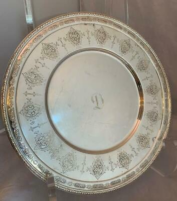 """Vtg Towle LOUIS XIV Sterling Silver Round Tray 11"""" Diameter Patd 12/23/19 NICE !"""