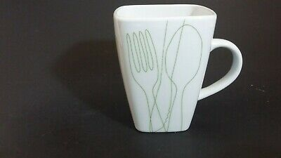 """Food Network square white mug with Green Utensils  4 1/4"""""""