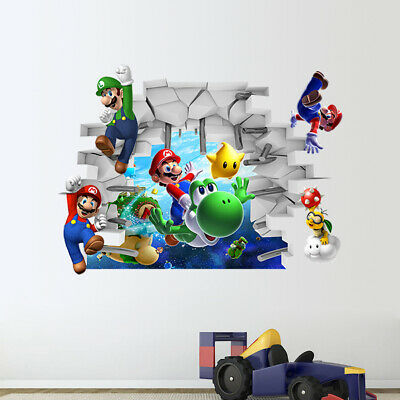 Super Mario Wall Sticker Kids Boys Room 3D Mural Wall Decal Cartoon Vinyl Decor