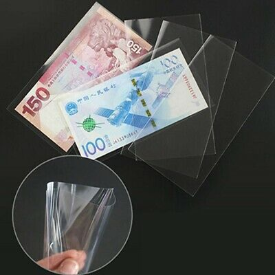 100Pcs Paper Money Stamps Sleeves Clear Banknote Collection Protect Storage Bag