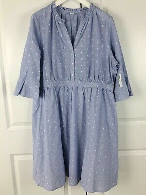 OLD NAVY Ruffle Bell Sleeve Dress - Blue White - Size XXL - New With Tags