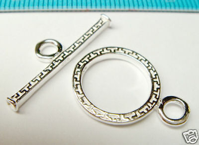 1x STERLING SILVER BRIGHT TOGGLE CLASP 15mm J069