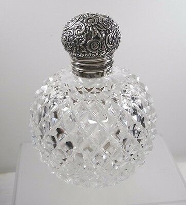 Antique English Sterling Cut Glass Orb Perfume Bottle