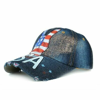 Baseball Hat Victory USA Flag Painting Jean Trucker Cap Adjustable By