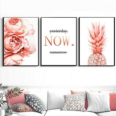 Scandinavian Style Poster and Prints pink peony pineapple Flowers Wall Pictures