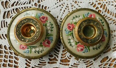 Vintage Petit Point Filigree Brass Tone Candle Sticks - Made in England