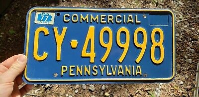 1976-1977 PENNSYLVANIA LICENSE Plate Car Tag- Commercial