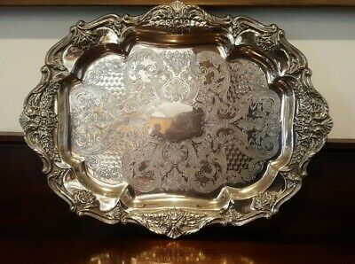 Vintage Silver Plate Serving Tray Ornate Large 52cms VGC