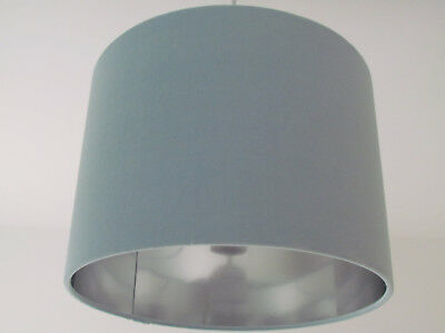 ** SALE ** 30 cm Pale Duck Egg Blue Velvet Brushed Silver Lining Drum Lampshade