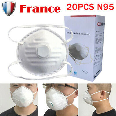 20Pcs N95 Particulate Dust Respirator Mask w/Exhalation Valve Half Face