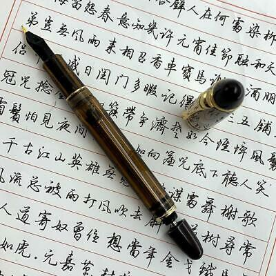 Wing Sung 699 Brown Translucent Vaccum Filling Fountain Pen F Nib Gift