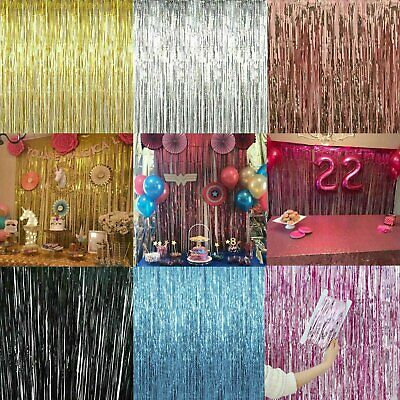 2.5M Long Metallic Foil Fringe Tinsel Curtain Door Wedding Backdrop Xmas Party