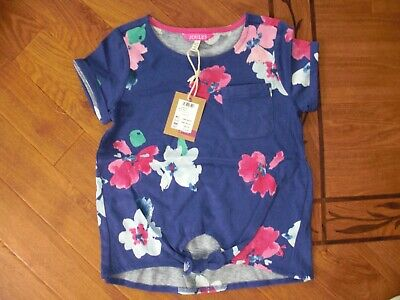 Bnwt Joules Girls Tiely Tie Front Blue Bloom T-Shirt Top Age 6 Yrs.rrp £16.95
