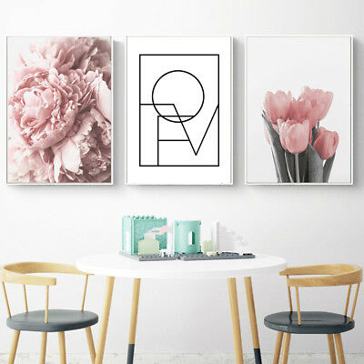 Wo_ Nordic Tulip Flower Canvas Wall Painting Picture Poster Art Home Decor Faddi
