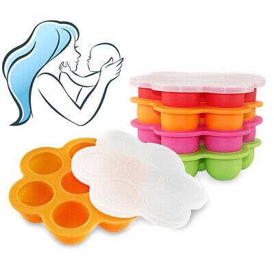 Silicone Weaning Baby Food Storage Container With Lid Freezer Ice Cube Tray