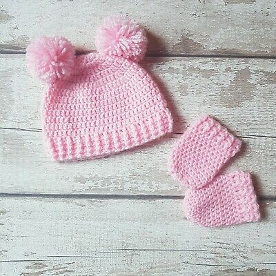 Handmade Crochet Baby Girl Hat And Mittens Set 0-3M Pink Double Pom Pom