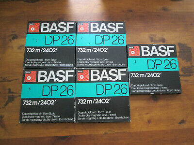 lot of 5 BASF DP26 reel to reel tapes 18cm 7 inch BLACK & RED LABEL