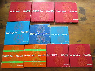 lot of 10 EUROPA BAND reel to reel tapes 8x 18cm 7 inch , 2 smaller sizes