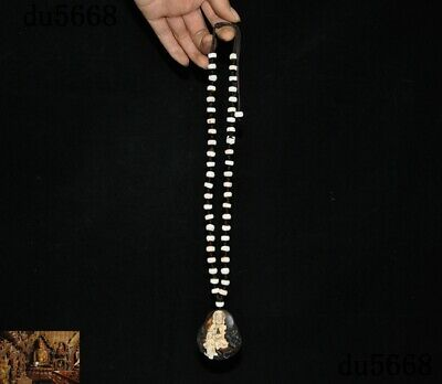 China Buddhism Natural Agate Onyx carved Dragon Kwan-Yin statue necklace Pendant