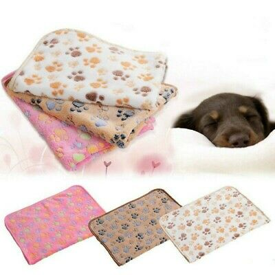 Warm Pet Blanket Dog Cat Soft Coral Fleece Paw Printed Bed Mat Sewing Craft Trim