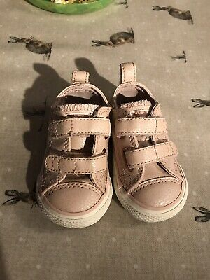 Girls Converse Shoes Baby Pink Leather Infant 4 EUC