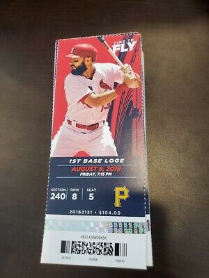 St Louis Cardinals Pittsburgh Pirates MINT Season Ticket 8/9/19 2019 MLB Stub