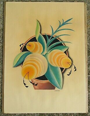 Old Mid Century Modern Really Retro Print Stylized Flowers Very Outsider Art ++