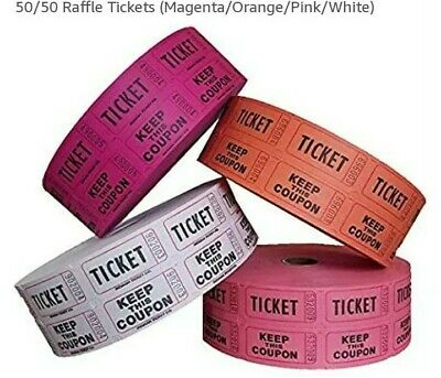 100 50/50 DOUBLE STUB pink ornge purple or white RAFFLE TICKETS free shiping usa