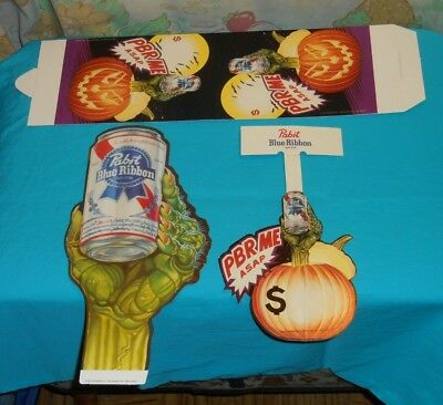 vintage PBR PABST BLUE RIBBON beer Halloween store display sign tent lot x3
