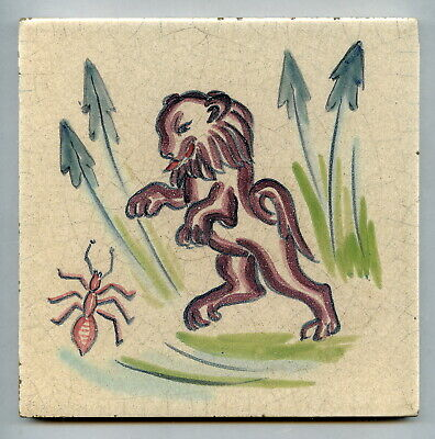 "Handpainted 6""sq tile from the ""Wild Animals"" series by Packard & Ord, c1937"