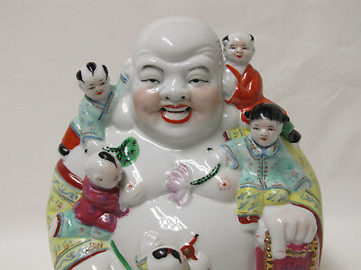 Old or Antique Chinese Famille Rose Porcelain Happy Buddha Statue with seal mark