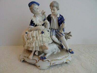 Dresden Figurine Porcelain Lace Figure - Young Couple - Germany / Mint
