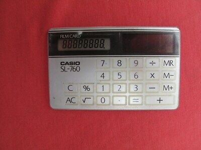 "Vintage CASIO Calculator ""SOLAR"" Film Card SL-760 Digital ""Made in Japan"""