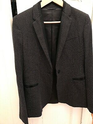 New M/&S Autograph Black Wool Blend Single Breasted Blazer Jacket Sz UK 14