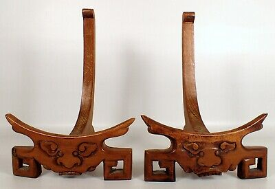 RARE Antique 19thC Chinese Carved Wood Porcelain Plate Stand Dragon Foo Dog Pair