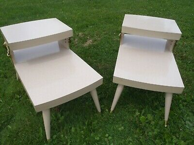 Rare Vintage Mid-Century Side Table Two Tier,Good Condition,Pair Of Two