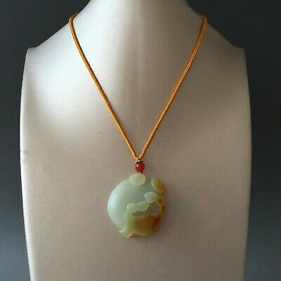Rare 100% Natural Hand-carved HeTian Jade Pendant Necklace Crab&Coin 籽料八方来财