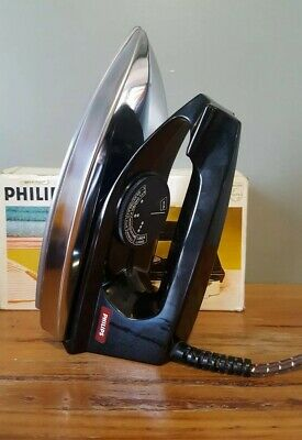 Vintage Electric Iron Philips HD1120 Original Box and Instructions 1970's  VGC