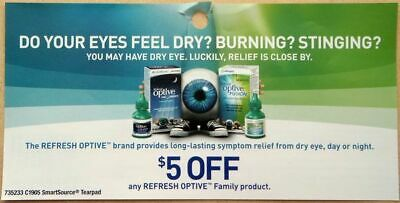 SAVE $20 Refresh Optive Product Dry Relief Eye Drop Coupons CANADA ONLY