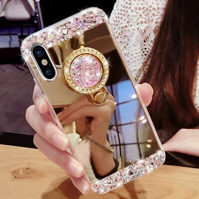 Bling Diamond Crystal Ring Holder Mirror Case Cover for Huawei P30Pro/Honor10