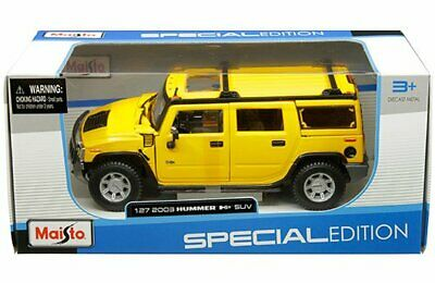 Maisto 1:27 W/B Special Edition 2003 Hummer H2 SUV Yellow Diecast Car 31231