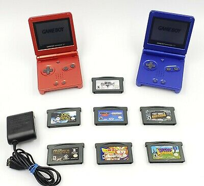 2 Nintendo Game Boy Advance SP GBA SP-001 W/ Charger & 7 Games Bundle Lot