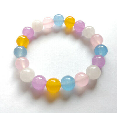 10mm Multi-Color Candy Pink White Purple Yellow Blue Jade Lucky Bangle Bracelet