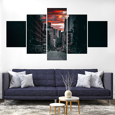 City Red Clouds Canvas Print Painting Framed Home Decor Wall Art Picture Poster